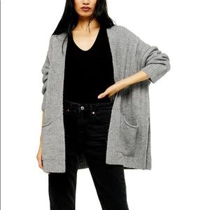 NWT Gray Open Front Oversized Pocket Ribbed Cardigan Size 12